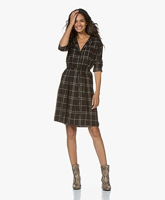 by-bar Neeltje Checkered Viscose Blend Dress - Black
