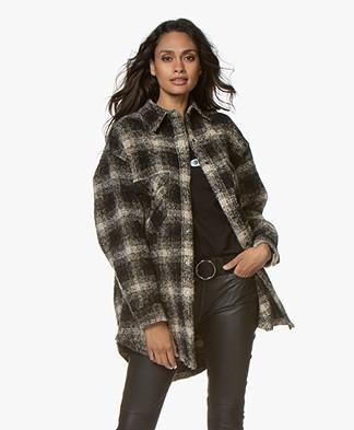 IRO Mirk Oversized Bouclé Cardigan-coat - Black/Ecru