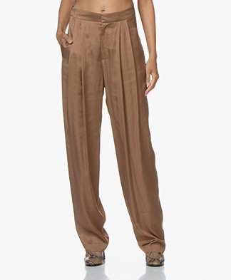 Resort Finest Fico Loose-fit Satin Pants - Camel