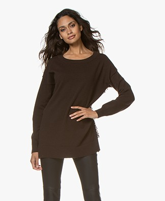 no man's land Wool Blend Sweater with Fringes - Fondente