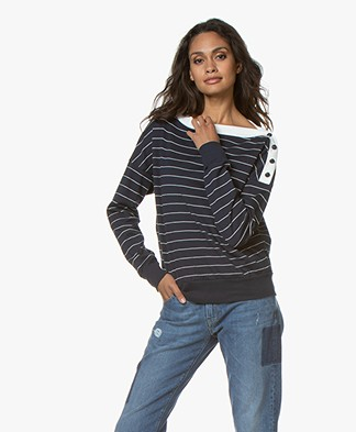 Petit Bateau Striped Long Sleeve with Button Closure - Smoking/Coquille