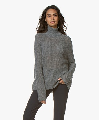 Drykorn Lyza Knitted Turtleneck Sweater - Grey Melange