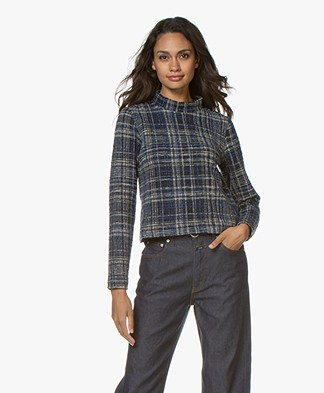 Josephine & Co Gigi Checkered Turtleneck Sweater - Navy