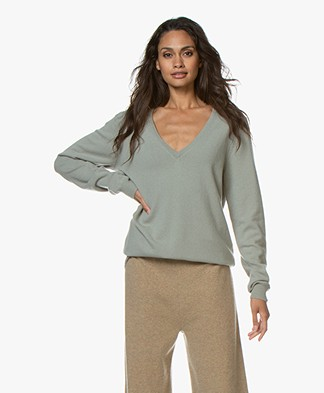 extreme cashmere N°89 Be Nice V-hals Trui - Bean