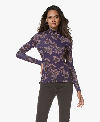 Rag & Bone Shaw Printed Turtleneck - Violet