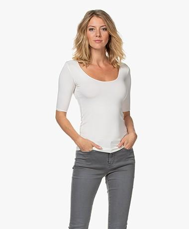 Majestic Filatures Soft Jersey T-shirt met Halflange Mouwen - Milk