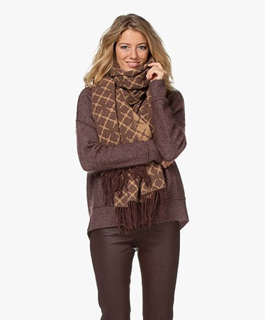 By Malene Birger Ortega Jacquard Sjaal - Sandy-Brown