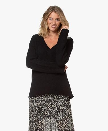 By Malene Birger Bisana Oversized V-neck Sweater - Black