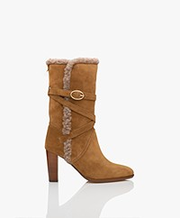 Vanessa Bruno Suede Leather Shearling Boots - Camel