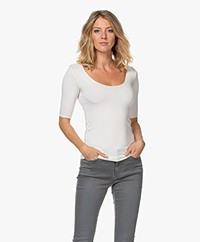Majestic Filatures Soft Touch Jersey T-shirt with Half-length Sleeves - Milk