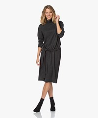 Repeat Knitted Wool Blend Funnel Neck Dress - Dark Grey