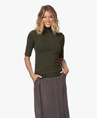 Majestic Filatures Brushed Jersey Colshirt - Pine Green