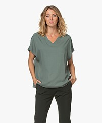 studio .ruig Tem Viscose V-neck Short Sleeve Blouse - Jade