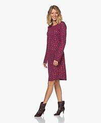 no man's land  Crepe Jersey Print Dress - Dark Pink/Dark Blue