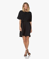 by-bar Nora Dress with Tie-belt - Black