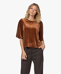 by-bar Bibi Velours Jersey T-shirt - Cognac