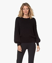 Repeat Ribbed Cotton Blend Sweater - Black