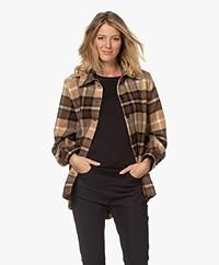Drykorn Landen Checkered Wool Blend Jacket - Brown