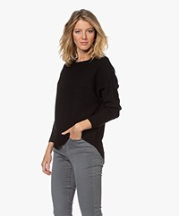 no man's land Rib Knitted Boat Neck Sweater - Core Black