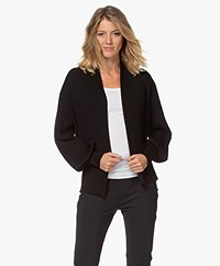 Repeat Rib Plisse Cardigan in Cotton and Viscose - Black