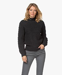 Repeat Chunky Knit Sweater with Braided Details - Dark Grey