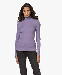 no man's land Wool Rib Knitted Turtleneck Sweater - Lilac