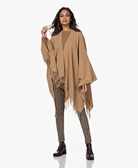no man's land Wool Blend Poncho - Camel