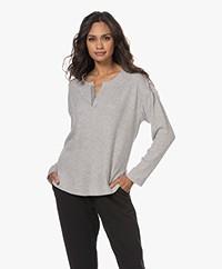 Calvin Klein Rib Jersey Henley Long Sleeve - Grey Heather