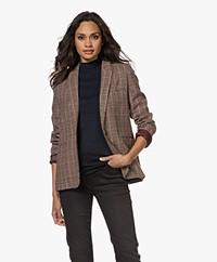MKT Studio Valentin Check Wool Blend Blazer - Brown/Pink/Blue