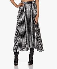 ba&sh Bessie Maxi Pleated Skirt with Dot Pattern - Black