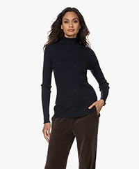 no man's land Wool Rib Knitted Turtleneck Sweater - Dark Sapphire