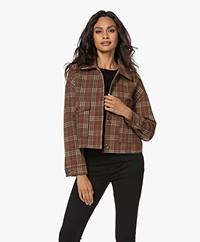 indi & cold Short Check Jacket - Caoba