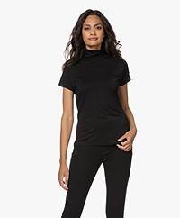 no man's land Roll-Neck Viscose Blend Lurex T-shirt - Core Black