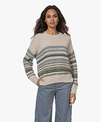 by-bar Liz Alpaca Mix Striped Pullover - Night Sage