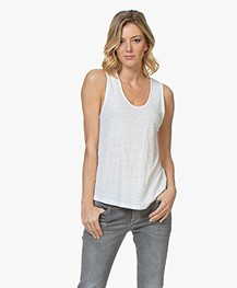 American Vintage Lolosister Linen U-neck Top - White