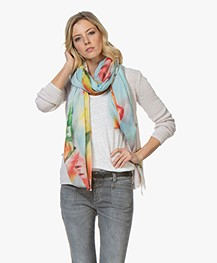 LaSalle Modal Blend Scarf with Print - Blue Melon