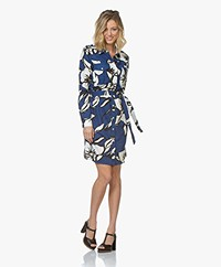 Majestic Filatures Linen Jersey Shirt Dress with Print - Cobalt Blue