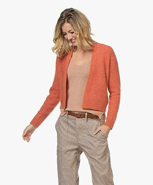 no man's land Mohair en Merino Open Vest - Papaya