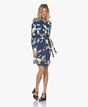 Majestic Filatures Linen Jersey Shirt Dress with Print - Cobalt Blue