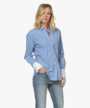 Closed Lilo Striped Poplin Blouse - Deep Ocean