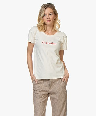 Vanessa Bruno Cotton Ccreative T-shirt - Cream/Red