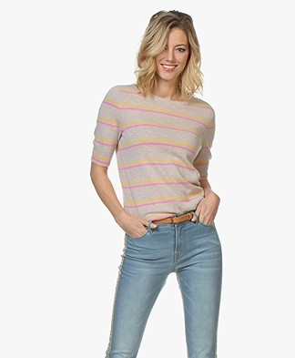 Repeat Cashmere Striped Short Sleeve Pullover - Light Beige