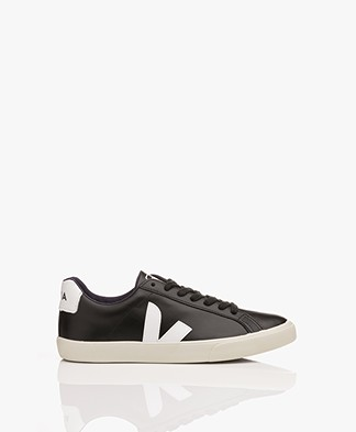 VEJA Esplar Low Logo Leather Sneakers - Black/White
