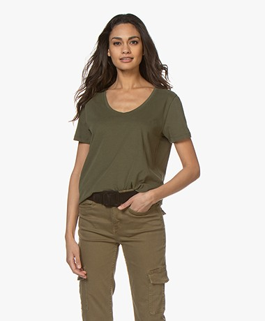Closed Brushed Cotton T-shirt - Shadow Green