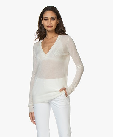 Joseph Cashair Pure Cashmere V-neck Sweater - Ivory