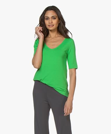 Kyra & Ko Dotty V-hals T-shirt - Groen