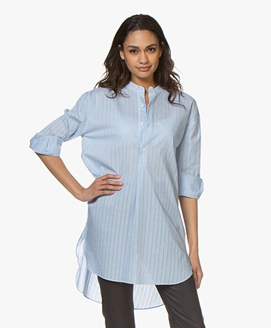 Josephine & Co Bonita Striped Cotton Blouse - Light Blue