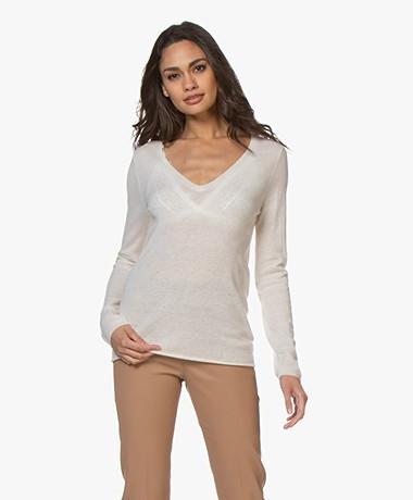 Majestic Filatures Delicate Cashmere V-neck Sweater - Milk