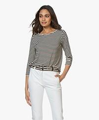 Majestic Filatures Viscose Jersey T-shirt met 3/4 Mouw - Zwart/Wit