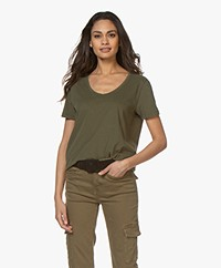 Closed Geborsteld Katoenen T-shirt - Shadow Green